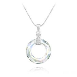 Collier Cosmic Ring en Argent Rhodié et Cristal Aurore Boréale