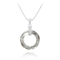 Collier Cosmic Ring en Argent Rhodié et Cristal CAL V Si