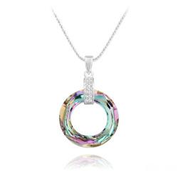 Collier Cosmic Ring en Argent Rhodié et Cristal Vitrail Light