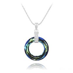 Collier Cosmic Ring en Argent Rhodié et Cristal Bleu Bermude
