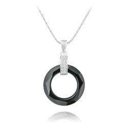 Collier Cosmic Ring en Argent Rhodié et Cristal Jet (Noir)