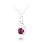 Wholesale Mermaid Silver Necklace with Swarovski Crystal - Amethyst