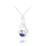 Wholesale Mermaid Silver Necklace with Swarovski Crystal - White AB