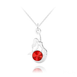 Collier Sirène en Argent et Cristal Rouge Light Siam