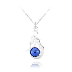 Collier Sirène en Argent et Cristal Bleu Saphir