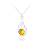 Wholesale Mermaid Silver Necklace with Swarovski Crystal - Sun Flower