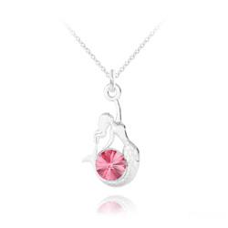 Collier Sirène en Argent et Cristal Light Rose