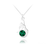 Wholesale Mermaid Silver Necklace with Swarovski Crystal - Emerald