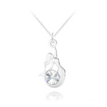 Wholesale Mermaid Silver Necklace with Swarovski Crystal - White