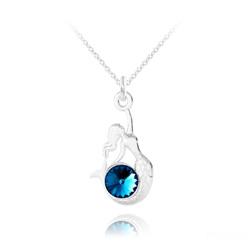 Collier Sirène en Argent et Cristal Bleu Bermude