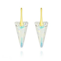 Boucles d'Oreilles Spike 28MM en Argent Plaqué Or et Cristal Aurore Boréale