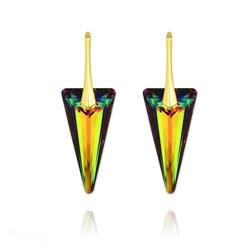Boucles d'Oreilles Spike 28MM en Argent Plaqué Or et Cristal Vitrail Medium