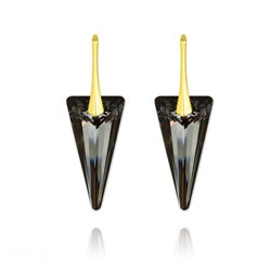 Wholesale Spike 28MM Yellow Gold Plated Silver Earrings with Swarovski Cry...