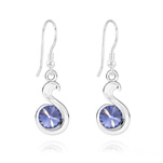 Wholesale Snake Rivoli Silver Earrings with Swarovski Crystal - Tanzanite