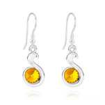 Wholesale Snake Rivoli Silver Earrings with Swarovski Crystal - Sun Flower