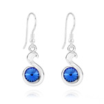Wholesale Snake Rivoli Silver Earrings with Swarovski Crystal - Sapphire