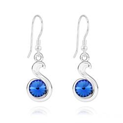 Boucles d'Oreilles en Cristal et Argent Boucles d'Oreilles Serpent Rivoli en Argent et Cristal Bleu Saphir