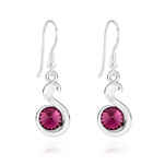 Wholesale Snake Rivoli Silver Earrings with Swarovski Crystal - Amethyst
