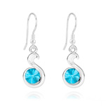 Wholesale Snake Rivoli Silver Earrings with Swarovski Crystal - Aquamarine