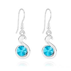 Boucles d'Oreilles en Cristal et Argent Boucles d'Oreilles Serpent Rivoli en Argent et Cristal Bleu Aigue-marine