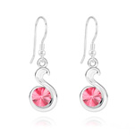 Wholesale Snake Rivoli Silver Earrings with Swarovski Crystal - Rose