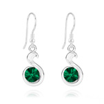 Wholesale Snake Rivoli Silver Earrings with Swarovski Crystal - Emerald
