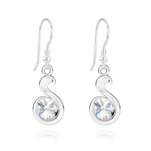 Wholesale Snake Rivoli Silver Earrings with Swarovski Crystal - White