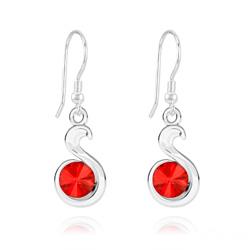 Boucles d'Oreilles Serpent Rivoli en Argent et Cristal Rouge Light Siam