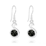 Wholesale Snake Rivoli Silver Earrings with Swarovski Crystal - Jet