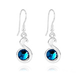 Wholesale Snake Rivoli Silver Earrings with Swarovski Crystal - Bermuda Blue
