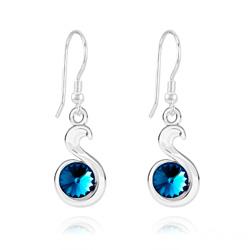 Boucles d'Oreilles en Cristal et Argent Boucles d'Oreilles Serpent Rivoli en Argent et Cristal Bleu Bermude