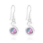 Wholesale Snake Rivoli Silver Earrings with Swarovski Crystal - Vitrail Light