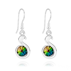 Wholesale Snake Rivoli Silver Earrings with Swarovski Crystal