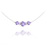 Wholesale Faceted Beads 6mm/8mm Silver Choker with Swarovski Crystal - Tanzanite