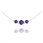 Wholesale Faceted Beads 6mm/8mm Silver Choker with Swarovski Crystal - Purple Velvet