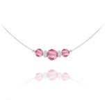 Wholesale Faceted Beads 6mm/8mm Silver Choker with Swarovski Crystal - Light Rose