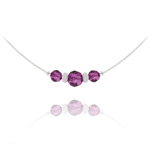 Wholesale Faceted Beads 6mm/8mm Silver Choker with Swarovski Crystal - Fuchsia