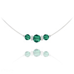 Wholesale Faceted Beads 6mm/8mm Silver Choker with Swarovski Crystal - Emerald
