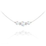 Wholesale Faceted Beads 6mm/8mm Silver Choker with Swarovski Crystal - White AB