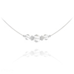 Wholesale Faceted Beads 6mm/8mm Silver Choker with Swarovski Crystal - White
