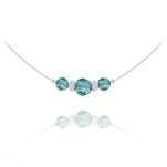 Wholesale Faceted Beads 6mm/8mm Silver Choker with Swarovski Crystal - Blue Zircon