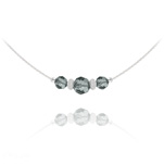 Wholesale Faceted Beads 6mm/8mm Silver Choker with Swarovski Crystal - Black Diamond