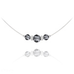 Wholesale Faceted Beads 6mm/8mm Silver Choker with Swarovski Crystal - Silver Night
