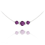 Wholesale Faceted Beads 6mm/8mm Silver Choker with Swarovski Crystal - Amethyst