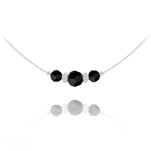 Wholesale Faceted Beads 6mm/8mm Silver Choker with Swarovski Crystal - Jet