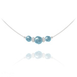 Wholesale Faceted Beads 6mm/8mm Silver Choker with Swarovski Crystal - Turquoise