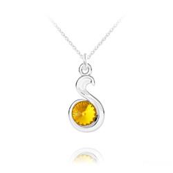 Collier Serpent Rivoli en Argent et Cristal Sun Flower