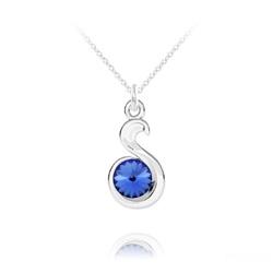 Collier Serpent Rivoli en Argent et Cristal Bleu Saphir