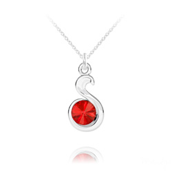 Collier Serpent Rivoli en Argent et Cristal Rouge Light Siam