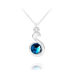 Collier Serpent Rivoli en Argent et Cristal Bleu Bermude